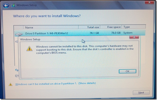 Windows cannot be installed...
